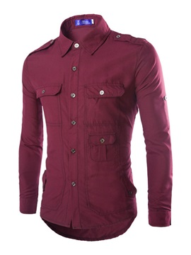 Men's Solid Color Multi-Pocket Long Sleeve Shirt