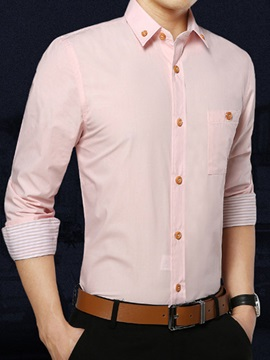 Men's Solid Color Button Collar Faux Pocket Long Sleeve Shirts