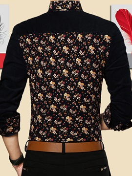 Men's Soft Fabric Floral Printed Long Sleeve Shirts