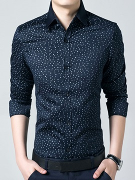 Men's Lapel Stars Printed Long Sleeve Shirts