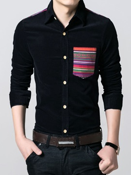Men's Plain Corduroy Contrast Pockets Long Sleeve Shirts