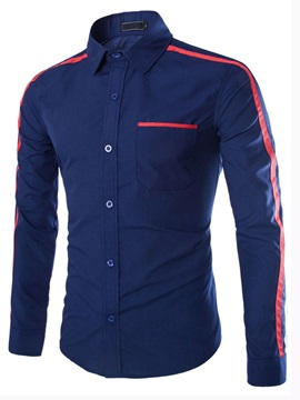 Stripe Decorated Lapel Men's Cotton Shirt