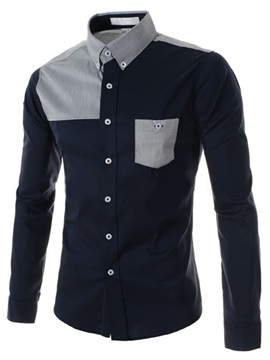 Lapel Shoulder Patchwork Single Breasted Men's Shirt