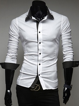 Contrast Collar Single-Breasted Men's Casual Shirt