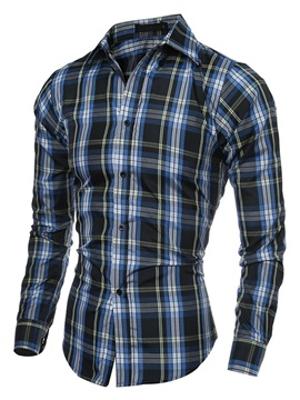 Middle Plaid Lapel Single-Breasted Men's Casual Shirt
