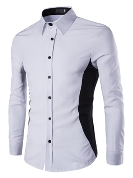 Color Block Buttons Back Lapel Men's Casual Shirt