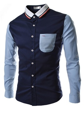 Color Block Chest Pocket Multi-Color Lapel Men's Shirt