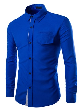 Overlapping Placket Chest Pocket Men's Casual Shirt