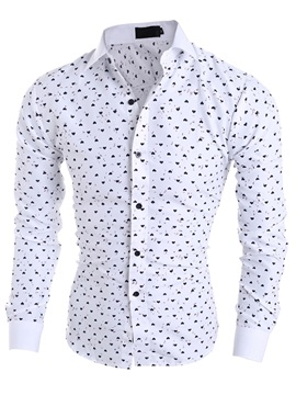 Lapel Heart Print Color Block Long Sleeve Single-Breasted Men's Casual Shirt