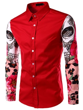 Painting Decorated Sleeve Lapel Men's Shirt