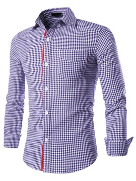 Mini-Plaid Front Chest Single-Breasted Men's Shirt