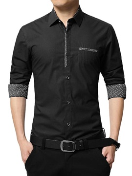 Front Pocket Single-Breasted Men's Casual Shirt