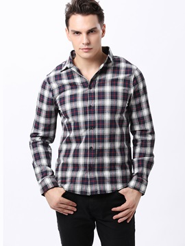 Colorful Plaid Single-Breasted Men's Lapel Shirt