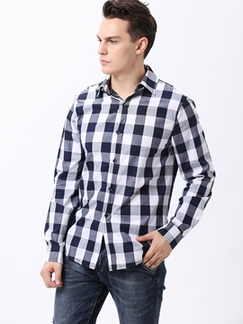 Plaid Single-Breasted Men's Cotton Blend Shirt