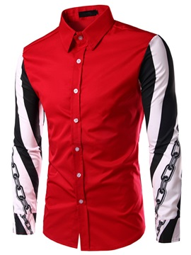 Chain Design Sleeve Men's Color Block Shirt