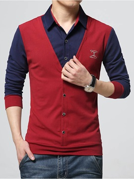 Chest Printed Color Block Faux Two Men's Shirt