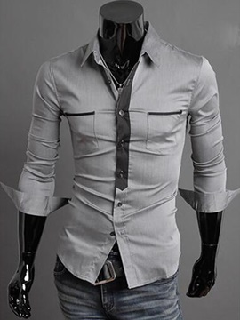 Chest Pockets Slim Fit Men's Casual Shirt
