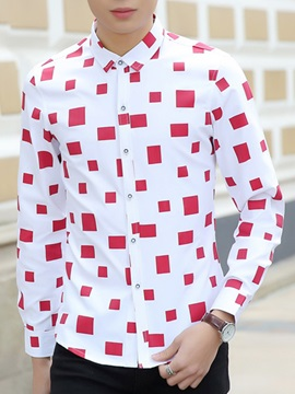 Colorful Diamond Printed Men's Casual Shirt