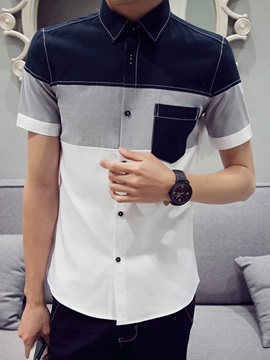 Contrast Color Front Pocket Short Sleeve Men's Shirt