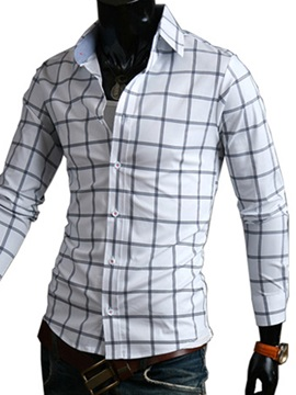 Middle Plaid Single-Breasted Men's Slim Fit Shirt