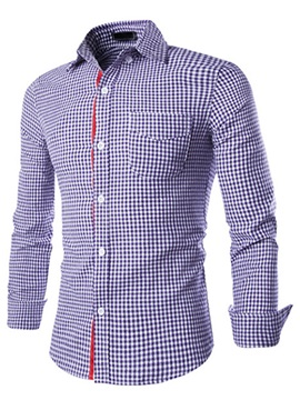 Mini-Plaid Front Pocket Men's Regular Fit Shirt