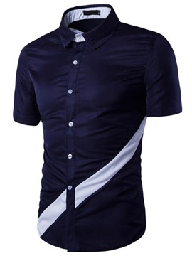 Color Block Stripe Short Sleeve Men's Shirt