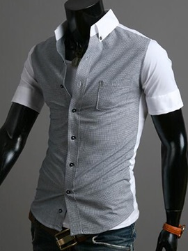 Patchwork Cotton Blends Men's Short Sleeve Shirt