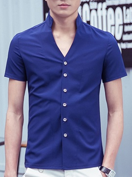 Solid Color Stand Collar Men's Short Sleeve Shirt