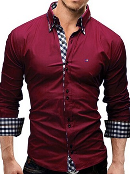 Plaid Men's Cotton Blends Shirt