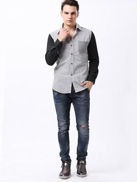 Patchwork Pocket Men's Oxford Shirt