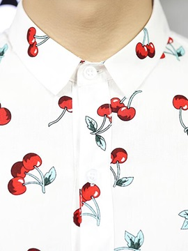 Cherry Printed Loose Fit Men's Short Sleeve Shirt