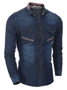 Loose Fit Medium Wash Men's Denim Shirt