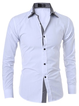 Stripe Patch Slim Fit Men's Long Sleeve Shirt