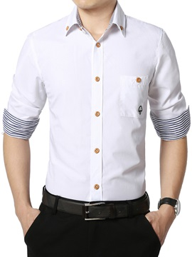 Embroidery Button Block Men's Shirt with Chest Pocket