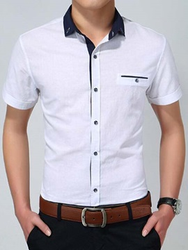 Slim Fit Short Sleeve Men's Shirt with Mock Pocket