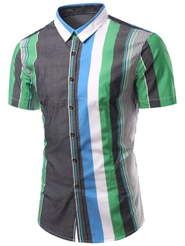 Color Block Vertical Stripe Men's Shirt