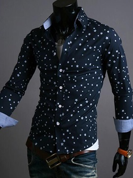 Star Print Single-Breasted Men's Casual Shirt