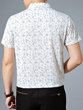 Turndown Collar Short Sleeve Men's Floral Shirt