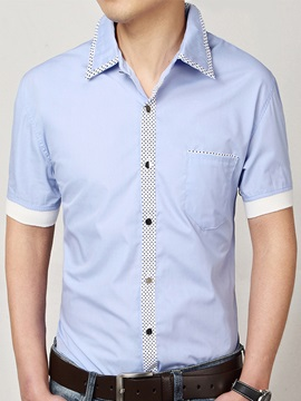 Polka Dots Patch Chest Pocket Men's Casual Shirt