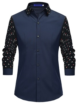 Floral Patch Long Sleeve Men's Casual Shirt