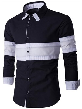 Color Block Patchwork Slim Men's Shirt
