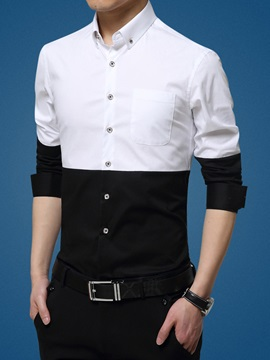 Single-Breasted Color Block Men's Casual Shirt