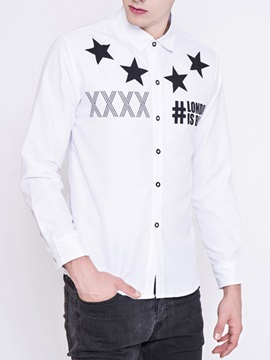 Long Sleeve Letter Printed Men's Vogue Shirt