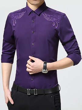 Embroidery Floral Men's Slim Fit Shirt