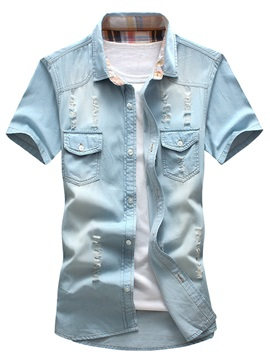 Worn Short Sleeve Men's Chest Pocket Shirt