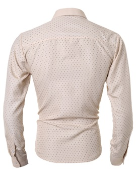 Polka Dots Casual Men's Cotton Blends Shirt