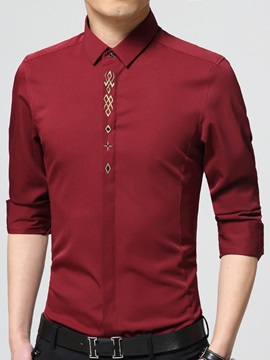 Embroidery Slim Fit Men's Long Sleeve Shirt