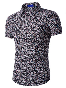 Cotton Blends Floral Printed Men's Simple Short Sleeve Shirt