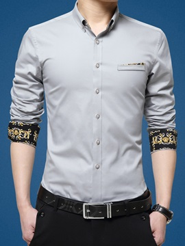 Single-Breasted Slim Fit Men's Long Sleeve Shirt