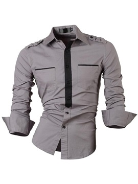 Color Block Chest Pocket Men's Long Sleeve Shirt